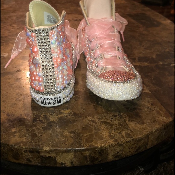 Converse Shoes   Bedazzled Pink White